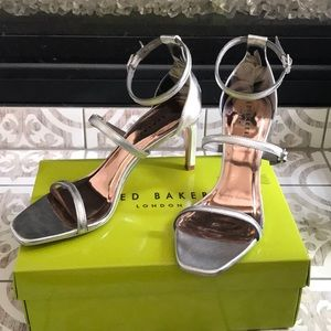 Ted Baker silver metallic sandals sizes 8, 9, 10.